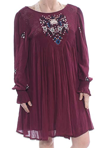 Free People Womens Mohave Embroidered Daytime Mini Dress Purple L