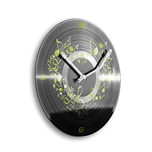 Creatieve veren muziek van Heart hart muzieksleutel plaat klok retro vinyl designer radio wandklok stil radio klok zonder tikken 30cm WSP023 leises Quarzuhrwerk