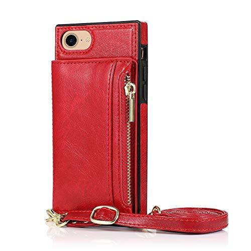 Oihxse - Funda de piel sintética con tapa para iPhone 7 + Plus / 8 + Plus, con ranura para tarjeta con correa antigolpes, antiarañazos, color rojo