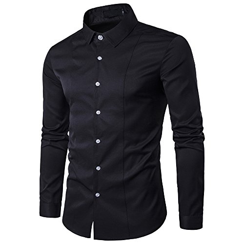 Chunmei Men's Shirt Slim Fit Non-Iron Narrow Shirt with Kent Collar Long-Sleeved Casual Shirt Easy Iron for Suit Business Wedding Party Vacation Shirt Top XL