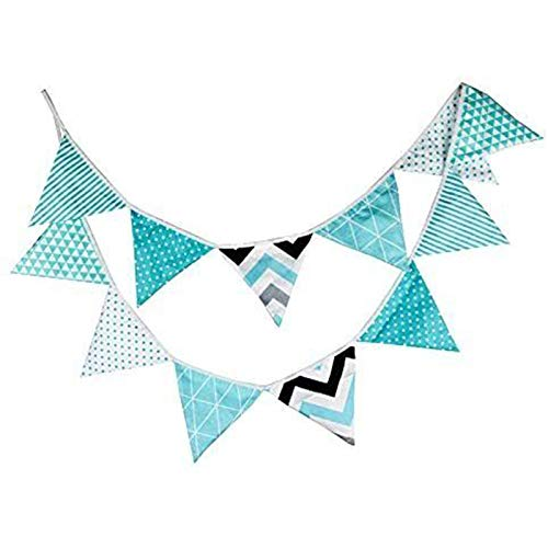 G2PLUS 10.8 Feet Colorful Fabric Bunting, Double Sided Pennant Flag Banners, Triangle Chic Garlands Decoration for Birthday Parties Ceremonies Kitchen Bedrooms (Blue)