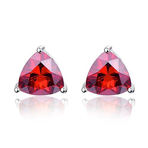 Bonlavie 925 Sterling Silver Triangle Shaped Red Garnet Gemstone Birthstone Stud Earrings for Women