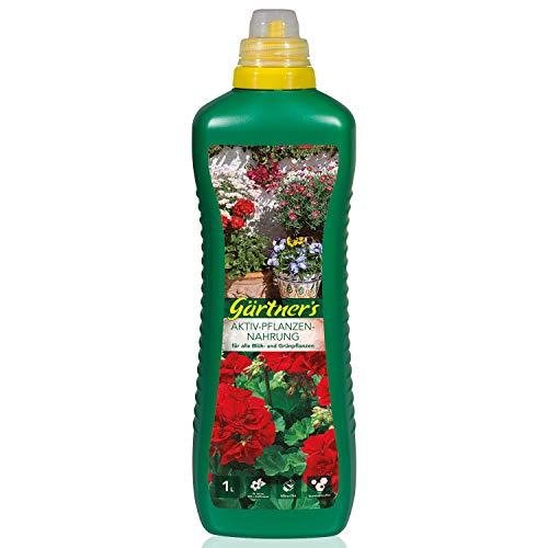 Gärtner's Aktiv-Pflanzennahrung 1 Liter I NPK Dünger für Blühpflanzen & Grünpflanzen I Für Zimmerpflanzen, Balkonpflanzen & Gartenpflanzen geeignet