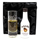 Personalised Tall Shot Glass & Miniature Rum in Silk Gift Box (Malibu Caribbean Coconut Rum)
