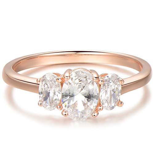 Blossom & Hue Infinity Band [18K Rose Gold Dipped 925 Sterling Silver] Tri-Stone [CZ - Cubic Zirconia] - Womens Forever Love [Size 7] Stacking/Bridal/Wedding Micropave Eternity Ring