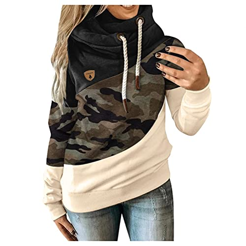 Reokoou Womens Hoodies Patchwork Contrast Color Tops Loose Fall Clothing Pullover Drawstring Hooded Sweatshirts