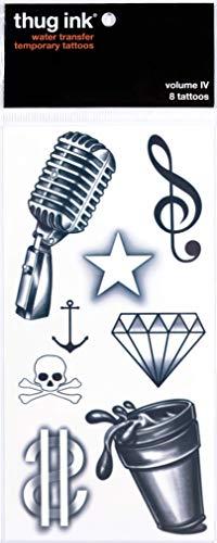 Thug Ink Temporary Tattoos - Volume IV - 8 Temporary Tattoos ~ Face Tattoos ~ Microphone, Dollar Sign, Diamond, Anchor, etc~ Thug Life ~ Fake Tattoos ~ Water-transfer Tattoos
