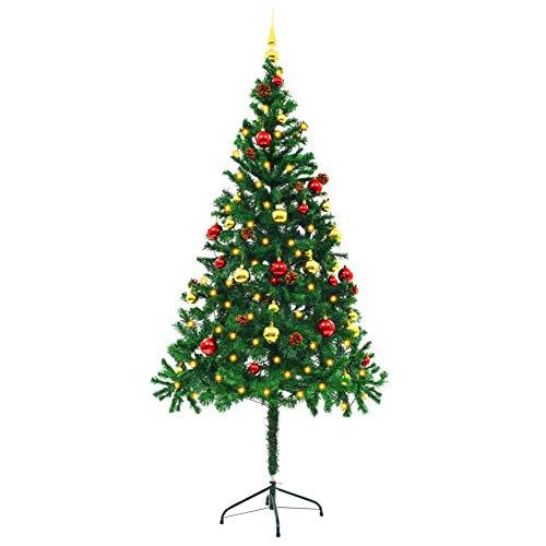 Dioche Árbol de Navidad artificial adornado bolas de 180 cm verde decoración Navidad fiesta suministros con 4 efectos de luz