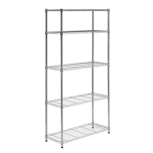 Topeakmart 4 Pack 5-Tier Shelving Unit Storage Shelves Rack Heavy Duty Shelving Garage Shelves, 59.1in H