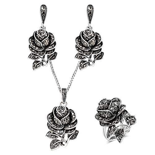 Pulseras de plata tibetana con diseño de rosas para mujer, estilo bohemio, de cristal, para novia, boda, 3 unidades, tamaño 9