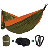Glymnis Hamaca Ultraligera para Camping y Viaje de Nylon 300kg de Capacidad de Carga Ranspirable y Secado Rápido 275x140cm Kit de Hamaca de Tela 210T Naranja y Verde Oscuro