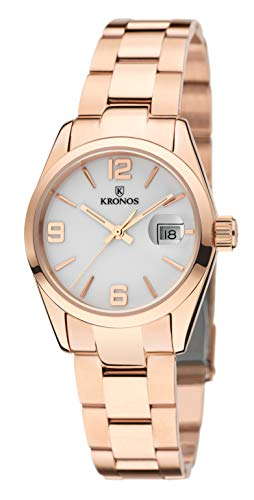 KRONOS - Elegance Ladies Rose 983.7.33 -Reloj de señora de Cuarzo, Brazalete de Acero, Color Esfera: Blanca