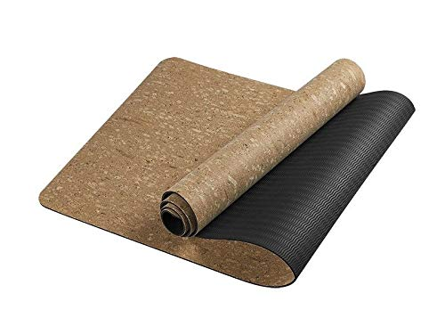 PARTAS Zweite Generation Klassische Yoga-Matte Eco Friendly Cork Yoga-Matte mit Naturkautschuk-Bottom, Roots Eco Friendly Yoga-Matte, Anti-Rutsch-Yoga Korkmatte (Color : A)