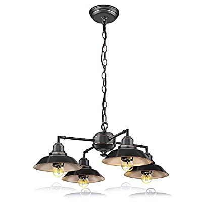 SereneLife Home Lighting Fixture - Metal Accent Classic Vintage Style Chandelier Pendant Hanging Ceiling Light with 4 Single Bulb Rustic Traditional Lamp Shade, US Standard Screw-in Sockets (SLLMP414)