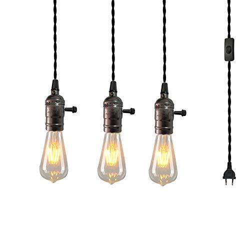 3-Flammig E27 Lampenfassung mit Schalter Fassung Schwarz mit 3 Meter Netzkabel Schraubring - Lampenaufhängung für Pendelleuchte Hängeleuchte,Eu
