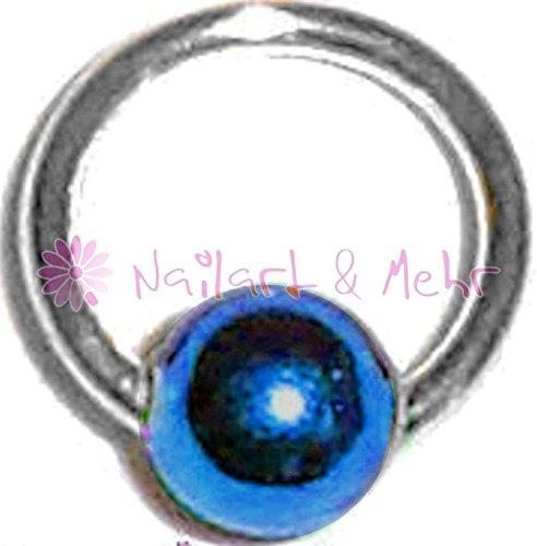 Fingernagel-/Nailart Piercing-Kugel, STERLING-SILBER, Kugel: BLAU, 4mm, #NP-102
