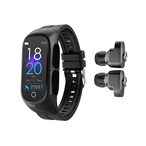W@nyou Smart Watch with Bluetooth Earbuds, Fitness Tracker 2-1 Stereo Earphones Answer Calls Sleep Tracker Heart Rate Monitor Music Control Pedometer Calorie Counter for Android iOS(Black)