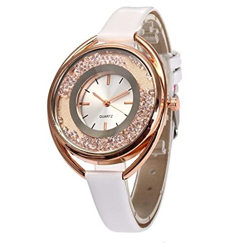 CloverGorge Reloj de Pulsera con Banda de Cuero Delgado con Diamantes de imitación para Mujer de Moda Coreana, Relojes de Pulsera de Cuarzo con Esfera Redonda a la Moda, Mejores Regalos