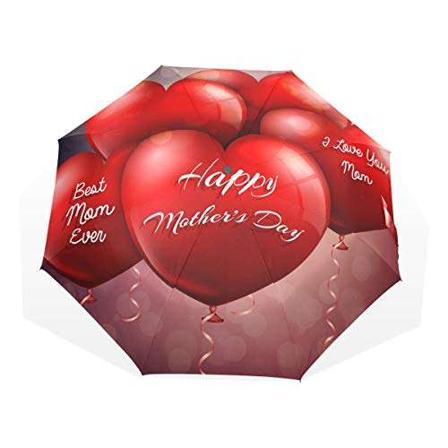 Paraplu Lovely Heart Balloons Happy Moederdag 3 vouwen lichte anti-UV