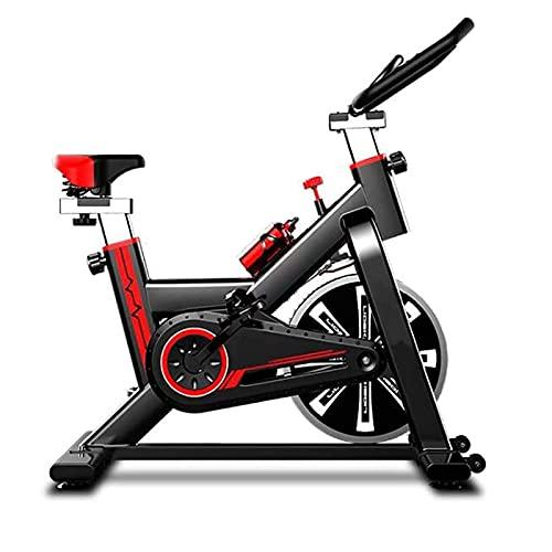 SAFGH Bicicleta de Ciclismo para Interiores estacionaria, Pantalla LED, Sensor de frecuencia cardíaca, Asiento Ajustable, transmisión por Correa silenciosa, para Entrenamiento en casa, Ciclismo en