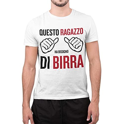 CHEMAGLIETTE! T-Shirt Divertente Uomo Maglietta con Frase Questo Ragazzo Ha Bisogno di Birra Tuned, Colore: Bianco, Taglia: XL