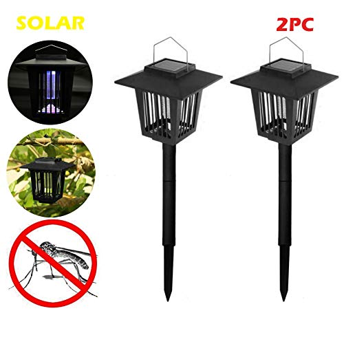 Naiflowers 2-Piece Solar Mosquito Bug Zapper Killer, Insect Killing Lamp Indoor Outdoor Ground Backyard Garden Patio Lawn Camping Cordless Solar Powered Pest Light Best Stinger Mosquitoes Moth Fly