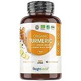 Cúrcuma Orgánica con Jengibre y Pimienta Negra de 505 mg 365 Cápsulas Veganas - Cúrcuma en...