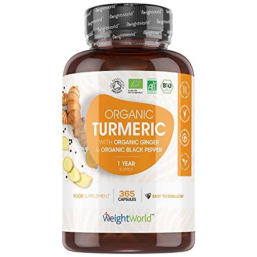 Curcuma Bio, Poivre Noir et Gingembre Bio - 365 Gélules Vegan Biodisponible WeightWorld - Curcumine Bio, Pipérine - Ginger, Turmeric Capsules Source de Vitamine C Antioxydant, Vitamine E