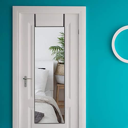 Rose Home Fashion Wandspiegel, volle Länge, 122 x 35 cm, Aluminium-Legierung, dünner Rahmen, Türspiegel zum Aufhängen, für Schlafzimmer, Wohnzimmer, schwarzer Rahmen