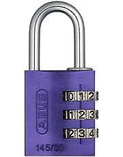 ABUS Cijferslot 145/30 lila - hangslot van massief aluminium - met individueel instelbare cijfercode - 46619 - niveau 3