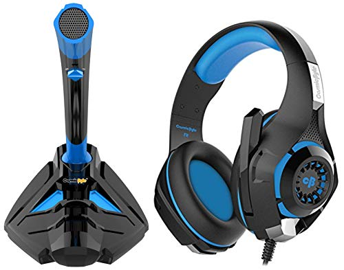 Cosmic Byte Alien Gaming Microphone with 3.5mm jack for PC, Laptop, PS4, Android, iOS (Black/Blue)+Cosmic Byte GS410 Headphones with Mic and for PS4, Xbox One, Laptop, PC, iPhone and Android Phones (