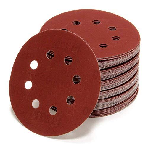 Woltersberger® 50 Stück Exzenter Schleifscheiben Ø 125mm | Körnung P600 | 8 Loch in rot | für optimales schleifen, vielseitig einsetzbar | Klett Schleifpapier Haft