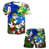 EA-SDN Sonic - Juego de camiseta y pantalones cortos para niños y verano, diseño de dibujos animados en 3D, unisex (Sonic 1,130)
