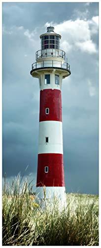 Wallario Glasbild Leuchtturm am Strand - 32 x 80 cm in Premium-Qualität: Brillante Farben, freischwebende Optik