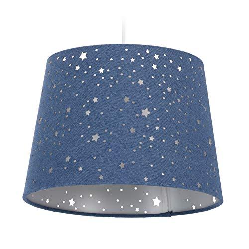 Relaxdays Kinderzimmerlampe Sterne, hängende Schirmlampe für Jungen, Sternenhimmel Motiv, E27, runder Stoffschirm, blau