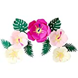 Luau - Flores hawaianas de papel de hibisco hawaiano, hojas tropicales, decoración de fiestas, flores artificiales de papel para moana mexicana, decoración hawaiana, decoración de fiesta Aloha Tiki