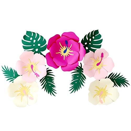 Luau - Flores hawaianas de papel de hibisco hawaiano, hojas tropicales, decoración de fiestas, flores artificiales para decoración de fiestas mexicanas hawaianas, Aloha Tiki