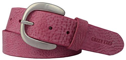 Green Yard Exklusiver Samtweicher Damen Ledergürtel, 4 cm Breite, Pink, 95 cm (Gesamtlänge 110 cm)