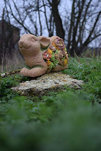 KRUK Rabbit Garden Ornament Statue, Solar Powered Outdoor Lights, Waterproof Resin Patio Home Figurine for Yard Decoration Souvenir Gift