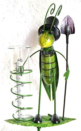 unnbekannt Gartenstecker Regenmesser Grashüpfer mit Schaufel 125 cm, stabile Ausführung- schöne Verarbeitung, stabile Ausführung