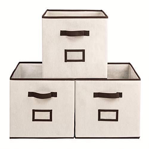 Sofier 13 Inch Cube Storage Bins 3 Pack Large Collapsible Storage Cubes Sturdy with Extra Thick Boards Dual Handles for Shelves Cube Organizer Closet Nursery Toys Office (Beige+Brown)