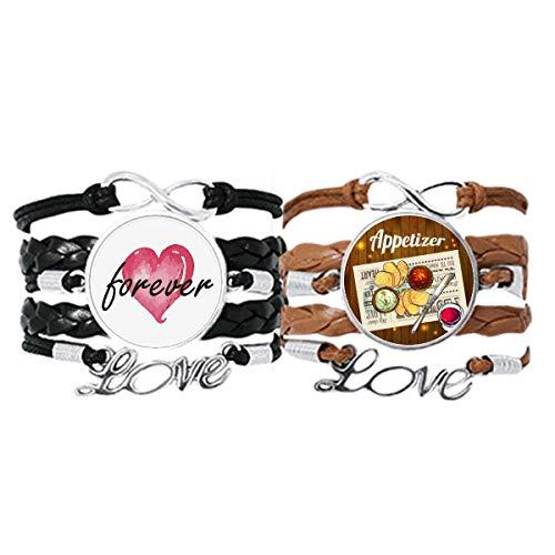 Bestchong Armband für Vorspeisen, Brot, Wein, Lederseil, Forever Love, Doppel-Set