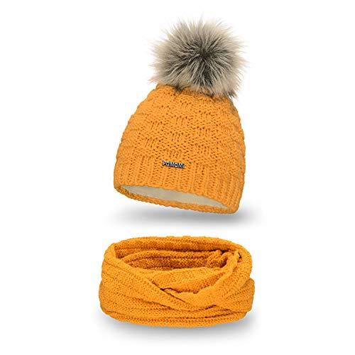 PaMaMi Essential Winter Set Mütze und Schal für Damen   Honig   Strickmütze Beanie mit Fellbommel und Fleece Gefüttert   Stylish Loop Schlauchschal