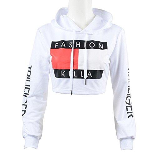 U-WARDROB Womens Casual Hoodies Sweatshirt Fashion Pullover Crop Top for Girl White S