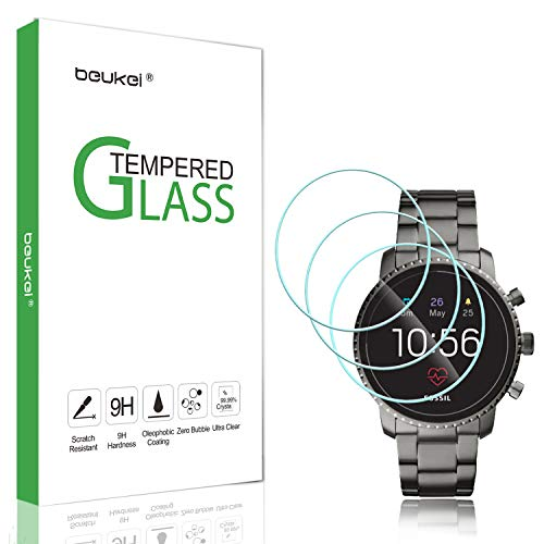 (3 Pack) Beukei for Fossil Q Explorist HR (Gen 4) Screen Protector Tempered Glass, Anti Scratch, Bubble Free