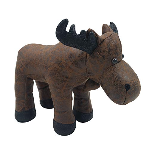 Faux Leather Fabric Animal Door Stopper Decorative Doorstops Moose Lover Gifts Stopper Wall Protectors Anti Collision Cute Brown