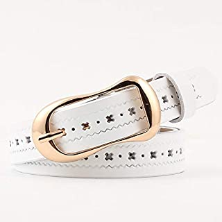 SGJFZD Hollow Leather Belt Ladies Leather Thin Belt Fashionable Hipster Students Solid Color Belt (Color : White)