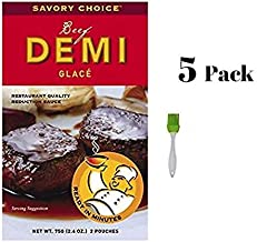 Savory Choice Beef Demi Glace Reduction Sauce Packet 75gr (Pack of 5) Bundled with Silicone Basting Brush in a Prime Time Direct Sealed Bag