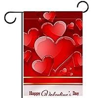 春夏両面フローラルガーデンフラッグウェルカムガーデンフラッグ(12x18inch)庭の装飾のため,バレンタインデーの愛の心