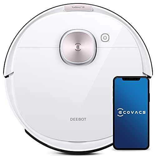 ECOVACS DEEBOT OZMO T8 - Robot aspirapolvere 2 in 1 con funzione lavapavimenti e navigazione intelligente, controllo Google Home, Alexa e app, 40W, Bianco
